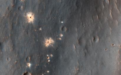This image acquired on December 9, 2018 by NASA's Mars Reconnaissance Orbiter, shows a recent impact in Noachis Terra in the southern mid-latitudes of Mars.