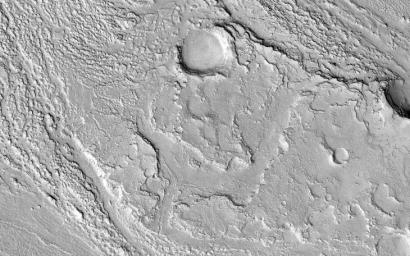This image acquired on December 9, 2018 by NASA's Mars Reconnaissance Orbiter, shows Athabasca Valles with lava flows originating from Elysium Mons to the northwest.