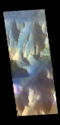 This image from NASA's Mars Odyssey shows part of the southern cliff face of Ius Chasma.