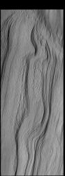 This image from NASA's Mars Odyssey shows layering in the south polar cap.