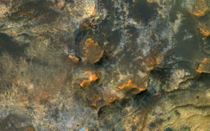 This image acquired on January 27, 2019 by NASA's Mars Reconnaissance Orbiter, reveals small-scale shapes that often correlate with mineral units and provides information about stratigraphy.