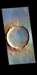 This image from NASA's Mars Odyssey shows a crater located in Utopia Planitia.