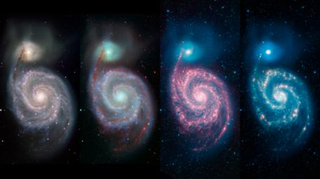 This multipanel image by NASA's Spitzer Space Telescope shows how different wavelengths of light can reveal different features of a cosmic object.