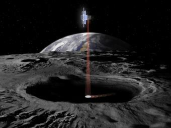This artist's concept shows the Lunar Flashlight spacecraft, a six-unit CubeSat designed to search for ice on the Moon's surface using special lasers.