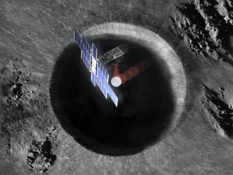 This artist's concept shows a view from above the Lunar Flashlight spacecraft, a six-unit CubeSat designed to search for ice on the Moon's surface using special lasers.
