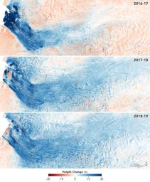 These images from NASA's Ocean's Melting Greenland (OMG) mission, show the mass Greenland's Jakobshavn Glacier has gained from 2016-17, 2017-18 and 2018-19.