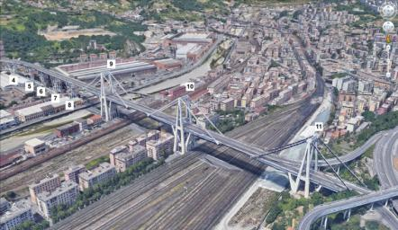 This image shows a satellite view of the Morandi Bridge in Genoa, Italy, prior to its August 2018 collapse.