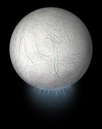 This illustration shows Saturn's icy moon Enceladus with the plume of ice particles, water vapor and organic molecules that sprays from fractures in the moon's south polar region.