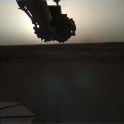 NASA's InSight lander used its Instrument Deployment Camera (IDC) on the spacecraft's robotic arm to image this sunrise on Mars on April 24, 2019.