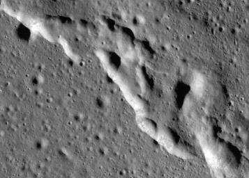 Scientists have discovered these wrinkle ridges in a region of the Moon called Mare Frigoris. These ridges add to evidence that the Moon has an actively changing surface. This image was taken by NASA's Lunar Reconnaissance Orbiter (LRO).