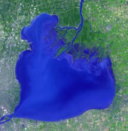 NASA's Terra spacecraft shows Lake St. Clair connects Lake Huron, via the St. Clair River, to Lake Erie, via the Detroit River.