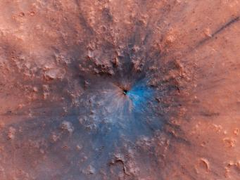 This image, acquired by NASA's Mars Reconnaissance Orbiter, shows a new impact crater that has appeared on the surface of Mars, formed at most between September 2016 and February 2019.