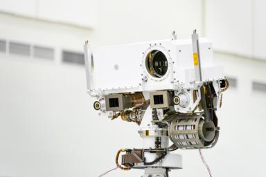 This image shows a close-up of the head of Mars 2020's remote sensing mast. The mast head contains the SuperCam instrument.