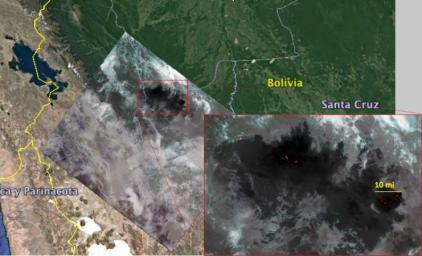 NASA's Ecosystem Spaceborne Thermal Radiometer Experiment on Space Station (ECOSTRESS) captured new imagery of fires in the Amazon regions of Brazil and Bolivia on Aug. 23, 2019.