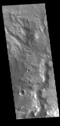 This image from NASA's Mars Odyssey shows an unnamed channel in Terra Cimmeria. The channel is located immediately outside of the rim of Knobel Crater.