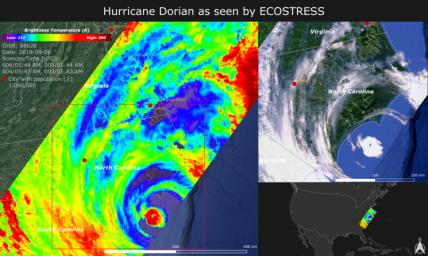 NASA's ECOSTRESS imaged Hurricane Dorian's temperature on Sept. 6, 2019 as the storm made landfall in North Carolina. Red colors represent warmer temperatures and purple/blue colors represent cooler temperatures.