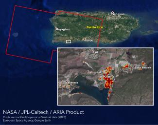 NASA's ARIA team mapped damage in southwestern Puerto Rico following a 6.4-magnitude quake and hundreds of aftershocks. Guanica, west of the city of Ponce, was particularly hard-hit.