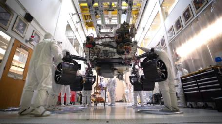 This time-lapse video, taken on Oct. 8, 2019, at NASA's Jet Propulsion Laboratory in Pasadena, California, captures the first time the Mars 2020 rover carries its full weight on its legs and wheels.