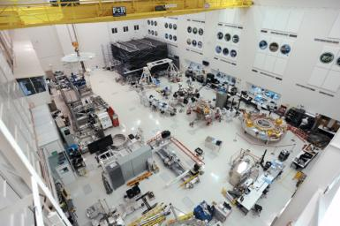 The High Bay 1 clean room within the Spacecraft Assembly Facility at JPL is seen in this image taken on Nov. 12, 2019. The Mars 2020 rover is visible just above center.