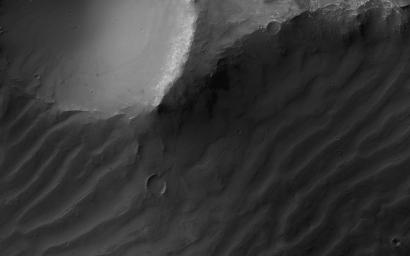 This image, acquired on October 26, 2017 by NASA's Mars Reconnaissance Orbiter, shows a cross-section of ancient canyon systems in east Coprates Chasma.