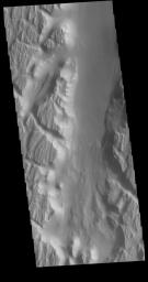 This image from NASA's Mars Odyssey shows a portion of Kasei Valles. In the region of this image Kasei Valles is flowing northward from Vallis Marineris.