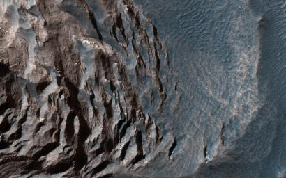This image acquired on August 8, 2019 by NASA's Mars Reconnaissance Orbiter, shows layered sediments on the floor of eastern Coprates Chasma in Valles Marineris, the grandest canyon on Mars.