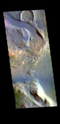 This image from NASA's Mars Odyssey shows a tributary channel that empties into the main Ares Vallis channel.