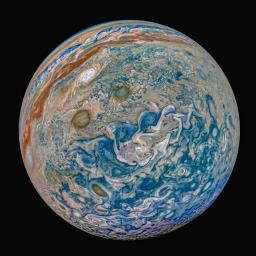 NASA's Juno spacecraft captured this image of Jupiter and the enhanced color evokes an exotic marble.