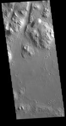 This image from NASA's Mars Odyssey shows one of the graben that comprise Amenthes Fossae.