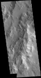 This image from NASA's Mars Odyssey shows the eastern margin of Orcus Patera.