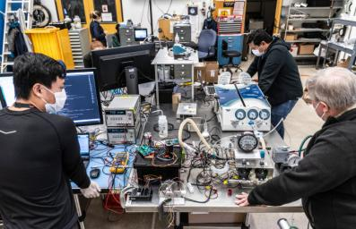 Engineers more accustomed to building spacecraft than medical devices worked on a prototype ventilator for coronavirus patients at NASA's Jet Propulsion Laboratory in Southern California in March and April of 2020.