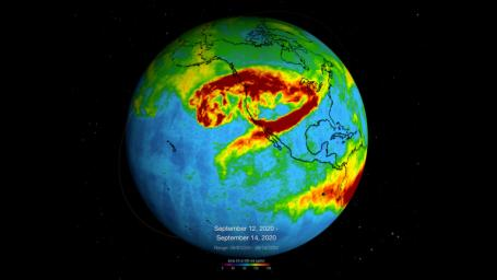 This visualization shows a three-day average of carbon monoxide concentrations, from Sept. 6 to14, in the atmosphere over California due to wildfires. Higher concentrations of the gas appear as red and orange regions.