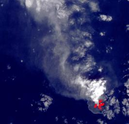 NASA's Terra spacecraft shows Nishinoshima Volcano, a small volcanic island located about 1000 km south of Tokyo.