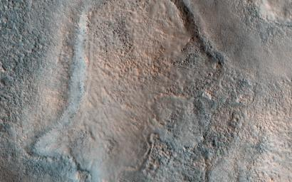 This image acquired on March 29, 2020 by NASA's Mars Reconnaissance Orbiter, shows a pitted, blocky surface, but also more unusually, it has contorted, irregular features.