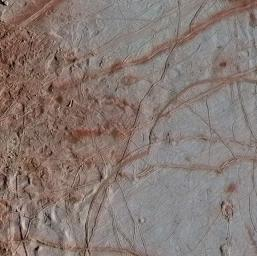 This newly reprocessed image of Jupiter's moon Europa, taken by NASA's Galileo spacecraft on Sept. 26, 1998, reveals details of diverse surface features.