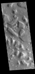 This image from NASA's Mars Odyssey shows part of Ariadnes Colles. The term colles means hills or knobs.