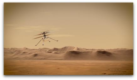 An artist's concept of NASA's Ingenuity Mars Helicopter flying through the Red Planet's skies.