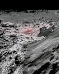 NASA's Dawn spacecraft captured pictures, which were combined to create this false-color view of a region in Occator Crater on the dwarf planet Ceres.