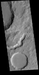 This image from NASA's Mars Odyssey shows a portion of an unnamed channel in northern Terra Cimmeria.