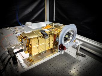 SuperCam's mast unit before being installed atop the Mars 2020 Perseverance rover's remote sensing mast.