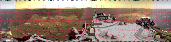 This image shows the 142 images that make up Mastcam-Z's first 360-degree panorama. Mastcam-Z is a pair of zoomable cameras on the mast, or head, of NASA's Perseverance Mars rover.