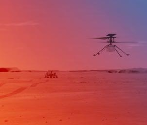 This image is an illustration of NASA's Ingenuity Helicopter flying on Mars.