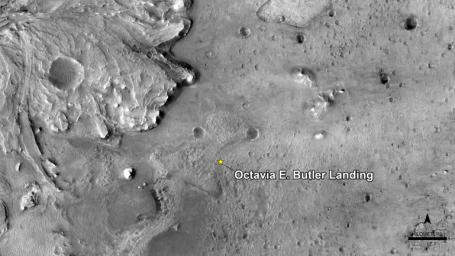 NASA has named the landing site of the agency's Perseverance rover after the science fiction author Octavia E. Butler, as seen in this image from the High Resolution Imaging Experiment camera aboard NASA's Mars Reconnaissance Orbiter.