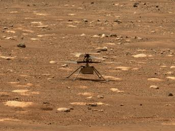 NASA's Ingenuity helicopter unlocked its blades, allowing them to spin freely, on April 7, 2021. This image was captured by the Mastcam-Z imager aboard NASA's Perseverance Mars rover on the following sol, April 8, 2021.