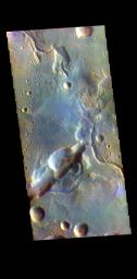This image from NASA's Mars Odyssey shows the northern margin of Arabia Terra. Numerous unnamed channels dissect this region of Arabia Terra, flowing downward into Acidalia Planitia.