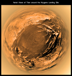 Click here for annotated version of PIA08114 Fish-eye View of Titan's Surface