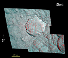 Click here for annotated version of PIA08402 Rhea's Pop-up Crater