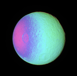 False Color View of Exposing Tethys' Surface