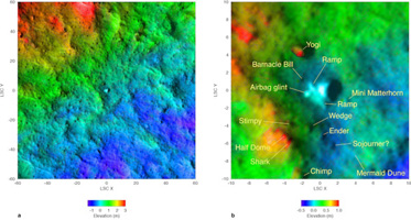 Click here for larger version of PIA09105 topographic map of landing site region