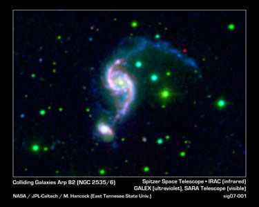 Click here for poster version of PIA09106 Older Galaxy Pair Has Surprisingly Youthful Glow